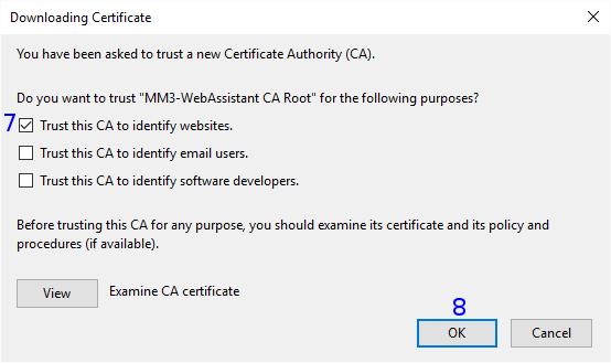 Firefox: Downloading Certificate