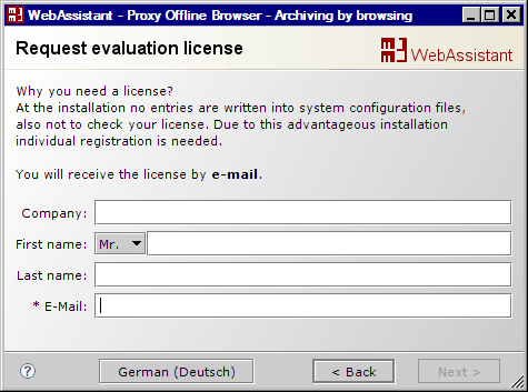 MM3-WebAssistant - Proxy Offline Browser: Request your license for the evaluation