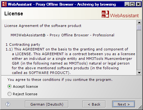MM3-WebAssistant - Proxy Offline Browser: License Agreement