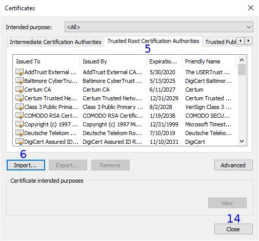 Internet Explorer: Certificates