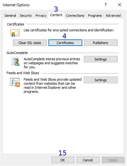 Internet Explorer: Internet Options / Content / Certificates