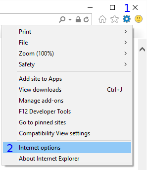 Internet Explorer: Tools / Internet options