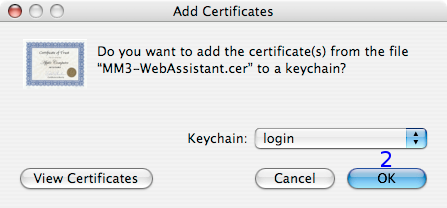 MacOSX: Add Certificates