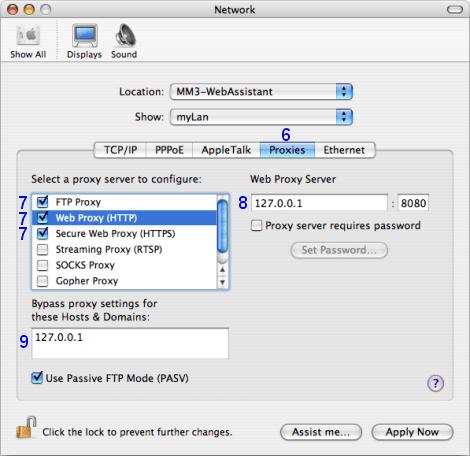 Mac OS X: Network / myLan / Proxies