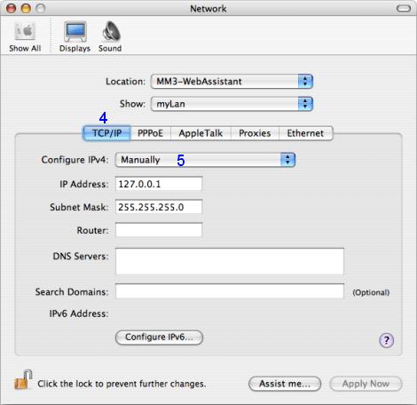 Mac OS X: Network / myLan / TCP/IP