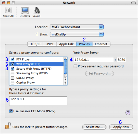 Mac OS X: Network / myDialUp / Proxies