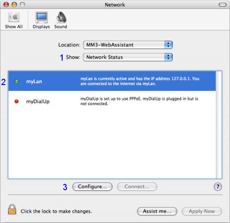 Mac OS X: Network / Network Status