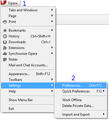 Opera Classic: Menu / Settings / Preferences...