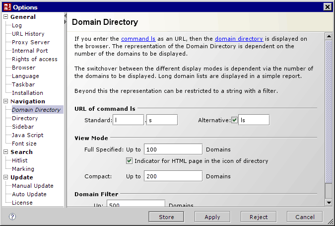 Options / Domain Directory