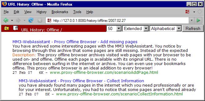 MM3-WebAssistant: URL History: View