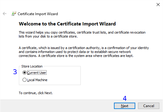 Windows: Certificate Import Wizard