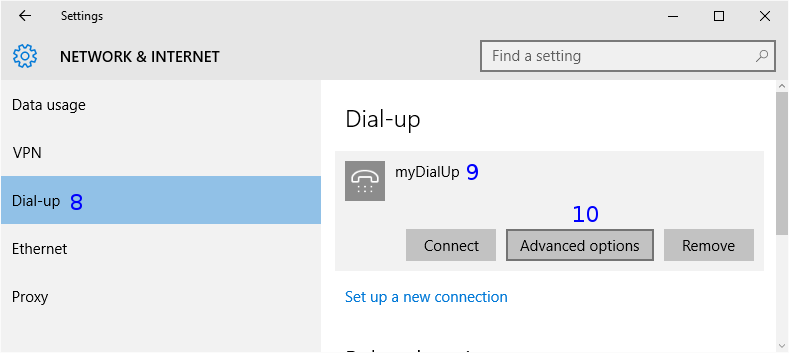 Windows: Dial-up settings