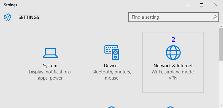 Windows: Settings / Network and Internet