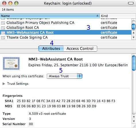 Safari: Certificate - MM3-WebAssistant - Proxy Offline Browser