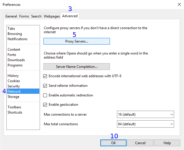 Opera Classic: Proxy Konfiguration - MM3-WebAssistant - Proxy
